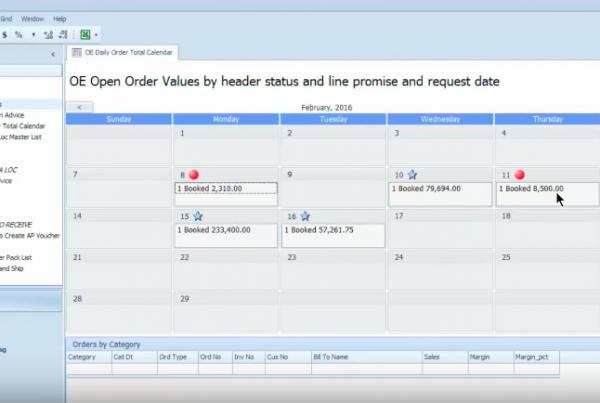 Agility Daily Order Calendar View
