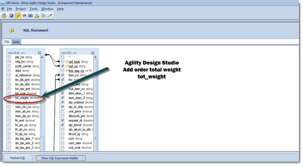 Agility Design Studio Select Order Total Weight