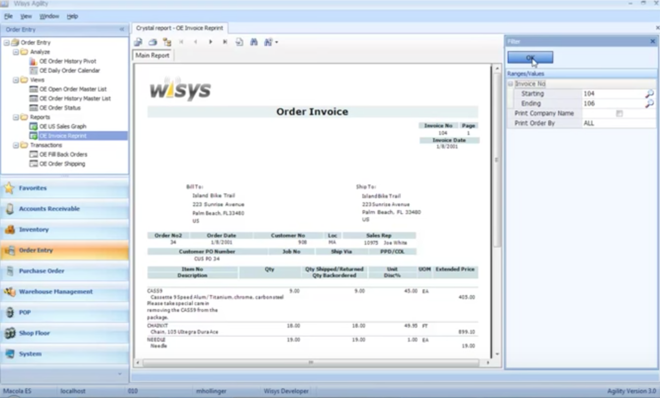 How to Move a Macola Crystal Report to Print in WiSys Agility
