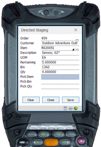 directed order picking screen